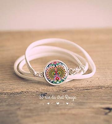 Bracelet double tour simili cuir blanc, Cabochon Grand Paon, Oiseau mutlicouleur