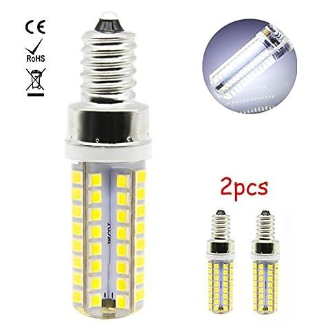 1819 2er 7W E12 LED Birne Leuchtmittel Energiesparlampe Lampe Kühles Weiß 6000K, 550Lumen Ersatz für 60W Halogenlampe, 360º Abstrahlwinkel, 2835 SMD
