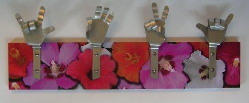 Métal Dandie Mains avec Rose Hibiscus Rose Surfer Sac de Fleurs torchon