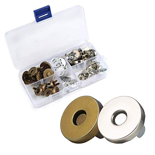 Valeny Magnetische Knopf Druckknöpfe 20 Stücke Magnetverschluss 14/18 mm DIY Magnetknöpfe für Handtaschen mit Aufbewahrungsbox