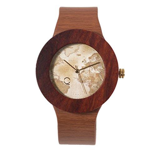 seQoya - Yosemite Traveller | Reloj de Madera con Esfera de Madera y Correa de Piel ecológica simulando Madera Estampada | Reloj Hombre y Mujer | Diseño único y Original