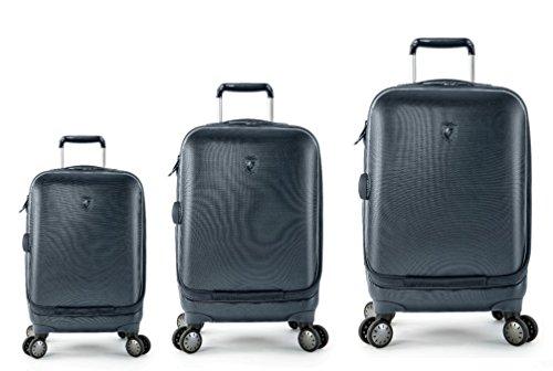 Sets de Bagages, valises - Première Classe Valise Rigide Set 3 pièces - Heys Crown Smart Portal Blu Bagages à Main + Trolley avec 4 Roues Mèdias + Trolley avec 4 Roues Grand