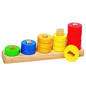 Goki-58968 Puzzles de maderaPuzzles de maderaGOKIAprende Contar con Anillos, (4013594589680)