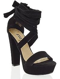 Amazon.it: Scarpe Blu Tacco Camoscio Sandali Scarpe da