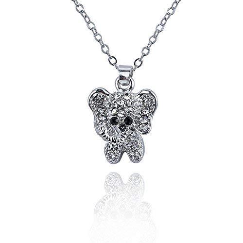 Papa Yana AP1156-A045elegante mujer Collar plateado con elefantes colgante de circonitas brillantes...
