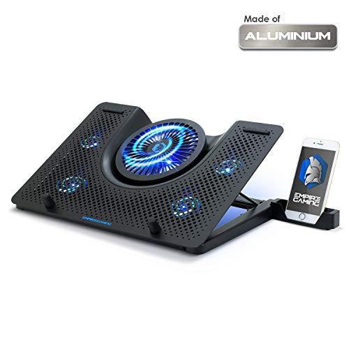 EMPIRE GAMING Turboost- Refroidisseur PC Portable Gamer Compatible 12 à 17 Pouces - 5 Ventilateurs Puissant Silencieux - Ergonomique 5 Hauteurs Réglables - Rétro-éclairage LED Bleu - USB
