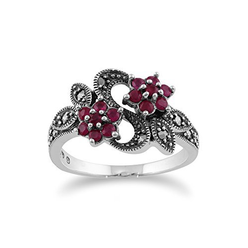 Gemondo Jugendstil Ring 925 Sterlingsilber 0,58 CT Rubin & Markasit Blumen Ring