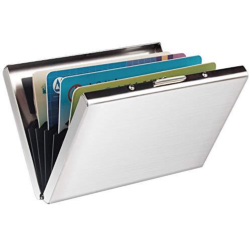 RFID Blocking Kreditkartenhülle Kreditkartenetui, URAQT Credit Card Holder Kreditkartenetui (Slim Silber*1 pcs)
