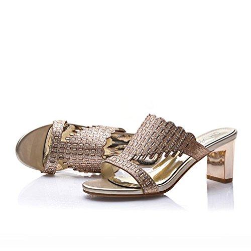 Damen Sommer Runde Offene Zehen Slip-on Metallfarbe mit Pailette und Quaste Blockabsatz Prinzessinschuhe Modische Sandalen Gold