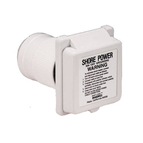 Marinco 6351el-b Marine 3Standard Poly Locking Power Inlet With Rear Safety Enclosure (50-amp, 125-volt, Male) by Marinco (Inlet Na)