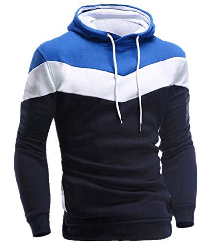 Grafik-jacquard-jacke (KPILP Männer Übergröße Herbst Winter Retro Patchwork Langarm-Shirt Hoodie Sweatshirt Oberteile Jacke Mantel Outwear(Marine, 3XL))