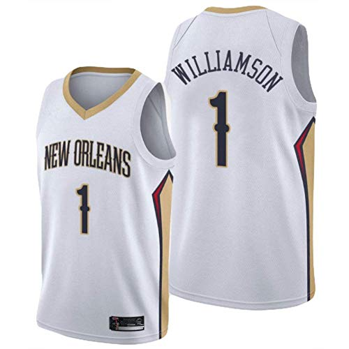 KKSY Basketball Trikot Männer Zion Williamson # 1 Weiß Vintage Fitness Weste Sport Top,L