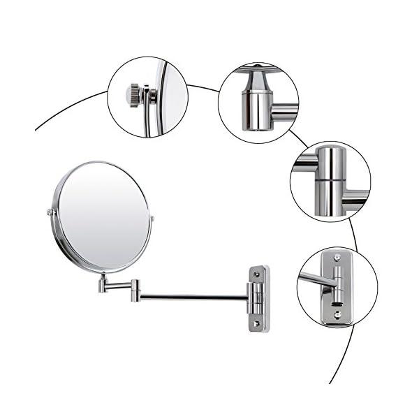 SONGMICS – Espejo de Pared Doble Cara, Espejo de Maquillaje, Espejo cosmético, 10 aumentos, 360 ° Giratorio, Extensible…