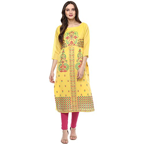 Indimania Women's Yellow Color 3/4 Sleeve Colour Pigment Print Straight Festive Wear Chanderi Silk Kurta (IMKUCH20030)  available at amazon for Rs.616