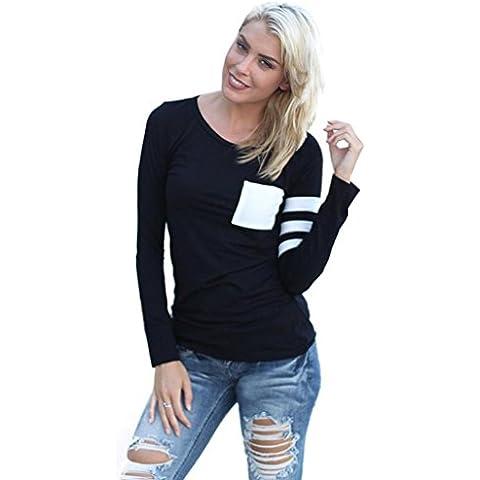 Fortan Womens girocollo manica lunga camicia Spliced camicetta supera
