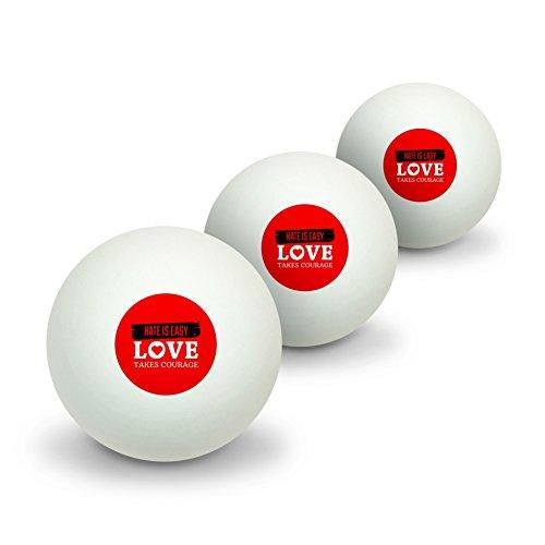 Hate ist leicht Love Takes Mut Neuheit Tisch Tennis Ping Pong Ball 3Pack (Bier-pong-sprüche)