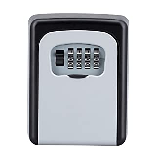 ZHENGE Key Box, Key Safe Box Wall Mounted, Key Storage Lock Box with 4-Digit Combination Outdoor to Share and Secure Keys for Home, Office, School, Garage, Realtors, Contractors (Silver)