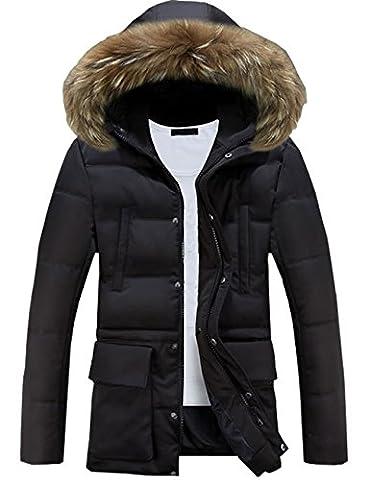 Glestore Mens Detachable Fur Hood Jacket Windproof Winter Coat Thick Padded Parka Outwear MY0903 Black