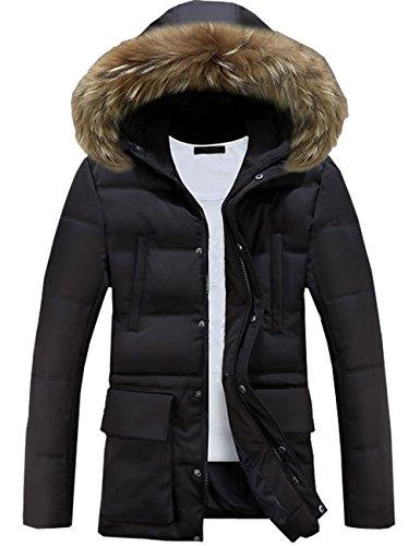 Glestore Homme Manteau d'Hiver Veste Chaude en Cotton Parka d'Hiver à Capuchon en Fourrure Mens Outdoor Jacket MY0903 Noir L