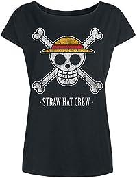 One Piece Straw Hat Crew T-shirt Femme noir