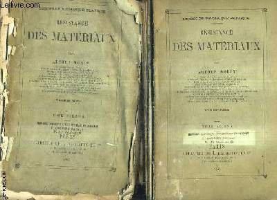 RESISTANCE DES MATERIAUX / LECONS DE MECANIQUE PRATIQUE / EN DEUX TOMES / TOMES 1 + 2 / 3E EDITION.