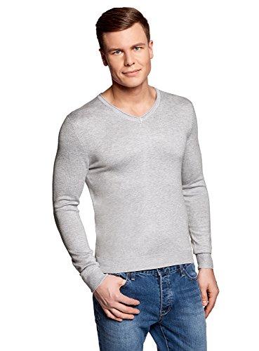 oodji Ultra Herren Pullover mit V-Ausschnitt Basic, Grau, DE 50 / M -