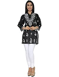 BDS Chikan Cotton Base Black Top with White Thread Chikan Work - BDS00490