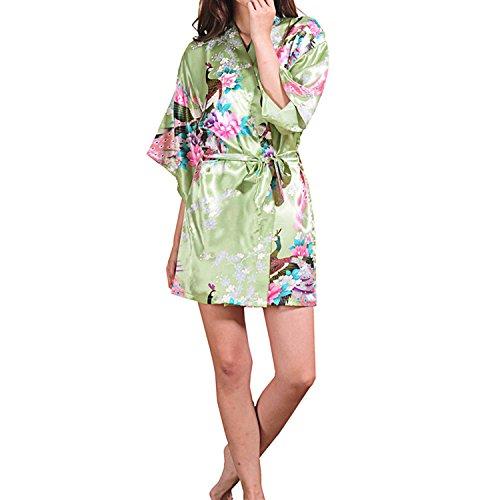 UTOVME Donna Pigiama Kimono Raso Pavone Fiori Corta Camincia da notte per lo spa, Festa Compleanno Matrimonio Pea verde