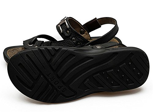 insun String sangle en cuir pour homme Tongs Noir - noir