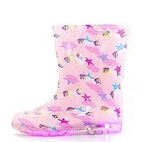K KomForme Kids Light-Up Rain Boots, Flashing Wellies Wellington for Girls and Boys, Pentagram, 9 UK Child