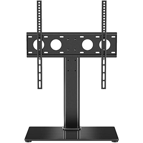 1home LCD/LED TV Ständer Fernsehtisch Standfuss Glas Standfuß Halterung Ständer Fernsehstand LED Fernseher Stand Flachbildschirm Aufsatz Möbel Rack Tischständer Universal für 32 - 55 Zoll