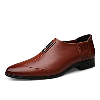 Jingkeke Männer echtes Leder Business Oxfords lässig einfache Spitze Zehe Krawatte Dekor Formale Schuhe auffällig (Color : Braun, Größe : 47 EU)