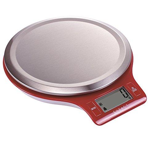"""EXZACT EasyClean Bilancia elettronica da cucina, Dimensione del prodotto: 21 x 17,6 x 3,1 centimetri.  Ampio display LCD: 4,5 cm x 2,1 cm, con la funzione """"Zero"""" o """"Tara"""", funzione di spegnimento automatico in 1 minuto, misurazione del peso di ingred..."""