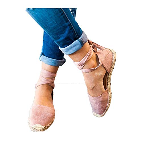Rosa Multi Leder Schuhe (HILOTU Flache Sandalen Für Damen rutschfeste Mode Wickel Knöchelriemen Sandalen Frühling Sommer Strand Personalisierte Multi-Material-Stitching Sandalen (Color : Rosa, Size : 38 EU))