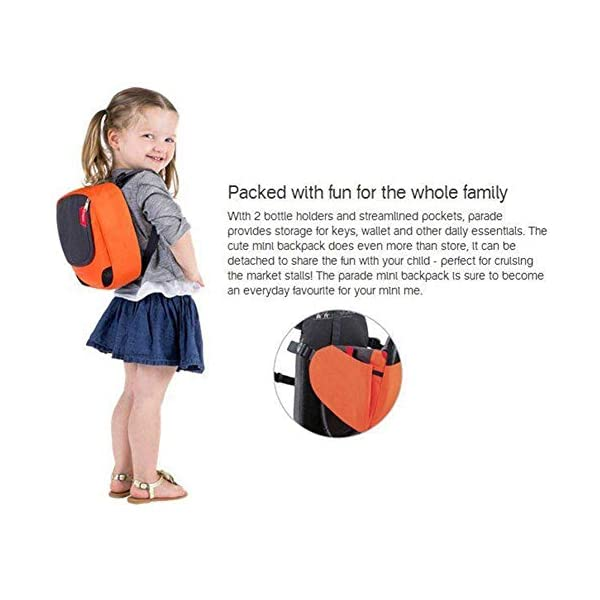 QINAIDI Child Carrier Backpack, Camping Baby Carrier, Holds up to 40 Pound, for Children Between 6 months-3 years old,Blue  1. Packed with fun for the whole family: With 2 bottle holders and streamlned pockets, provides storage tor keys, wallet and other daily essentials. The cute mini backpack does even more than store, It can be detached to share the fun wtth your child-perfect for crulsing the market stalls! The mini backpack is sure to become an everyday favounrite for your mini me. 2. Comfort features you will applaud: It has an active ergo fit harness system that features shoulder and hip belts which are soft & supportive against your body.Both parent and child harnesses can be easily adjusted to suit different bodies and ages. 3. Air-tecn mesh panels across the back of keep you coot wlle atso contourtng to your spine and back for added comfort 3