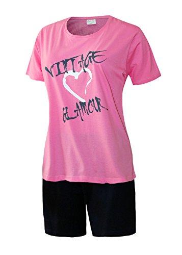 Rosa Baumwoll-shorty-pyjama (Damen Schlafanzug kurz Pyjama Damen kurz Sleepshirt Damen Shorty aus 100% Baumwolle Gr. S M L XL (M/40-42, oberteil rose mit Motivdruck/short uni anthrazit ) ))