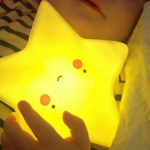 Amazon Black Sales Friday Cyber Sales Monday Deals 2018 - Cute Night Light for Kids,Led Baby Nursery Bedroom Lamp Bedside Mood Sleep Nightlight Sun Moon Cloud Star Fanny Toy Gift for Children (Star)