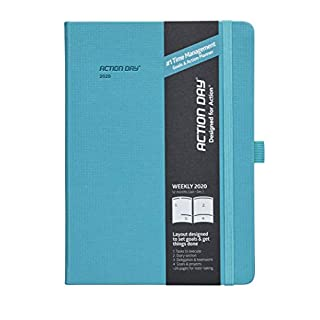 Action Day Planner 2020 - #1 Time Management Design - Beautiful & Effective Journal Designed to Get Things Done - Weekly, Daily, Monthly (6x8, Thread-Bound, Turquoise)