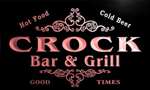 u09616-r CROCK Family Name Bar & Grill Cold Beer Neon Light Sign Barlicht Neonlicht Lichtwerbung -