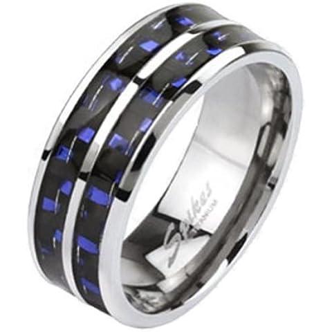 Paula & Fritz® Anillo Titanio Azul Carbon Fiber Inlay disponibles Ring tamaños 60(19)–69(22) R de ti de 4372