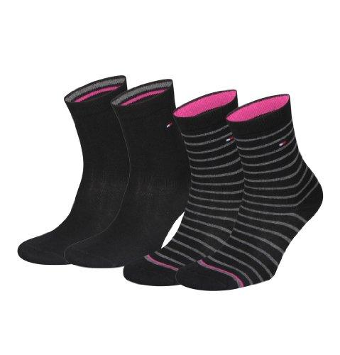 4 Paar Tommy Hilfiger Stripe Damensocken (39-42, black)