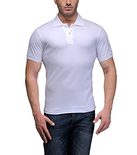 Kalpit Men's Comfort Soft Premium Cotton Plain Polo Collar Half Sleeve T-Shirt with Solid Color (Available in Many Colours) (White, Medium)