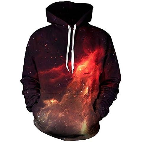 OMSLIFE Unisex 3D Stampato Galaxy/Animale Felpa con Cappuccio e Tasche Pullover Sweat-shirt Hoodie Multicolore Abbigliamento sportivo Anche per le donne e gli uomini