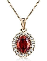 Cristales Swarovski Elements juego de joyas de moda Collar Colgante Aretes, Rubí Rojo Cristal