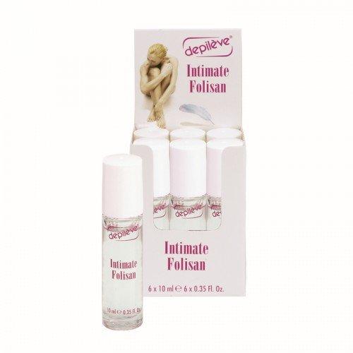 Depileve Intimate Folisan Gel Roll-On, Intimpflege, gegen Pusteln, Pickel, eingewachsene Haare, 8ml, 6 Stück