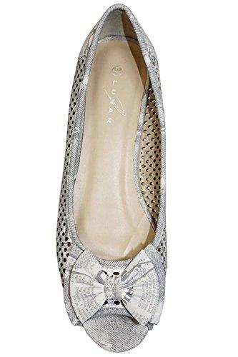 Fantasia - Chaussure Plate Pour Femme Noeud Sur Avant Sandale Bout Ouvert Été Gris