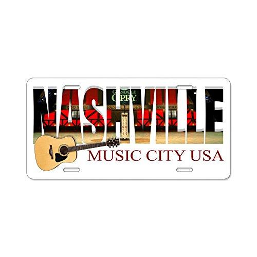 CafePress–Nashville Music City USA–Aluminium Nummernschild, vorne Nummernschild, Vanity Tag (Usa Kennzeichen License Plate Frame)