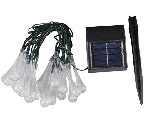 RunQiao 5 meters 20LED Warmweiß Solar-Lichterkette Eiszapfen Lichterkette wasserdicht Solar Beleutung für Deko Garten, Rasen, Terrasse, Weihnachten, Hochzeiten, Parties, den Innen- und Außenbereich, beige, Water Drop