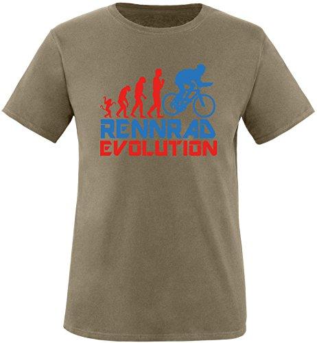 EZYshirt® Rennrad Evolution Herren Rundhals T-Shirt Olive/Rot/Blau