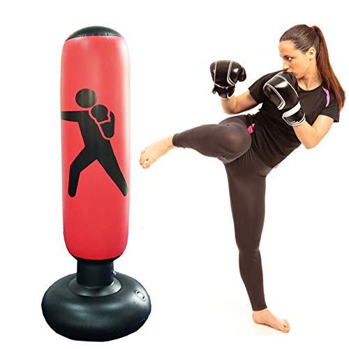 Boxsack - aufblasbarer PVC freistehender Fitness-Ziel-Ständer Tower Bag - erhöht die Beweglichkeit Tumbler Typ Boxsack zur Entlastung von Druck Bodybuilding Free Size rot